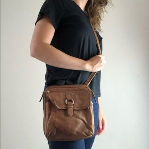 Fossil distressed brown leather Crossbody purse